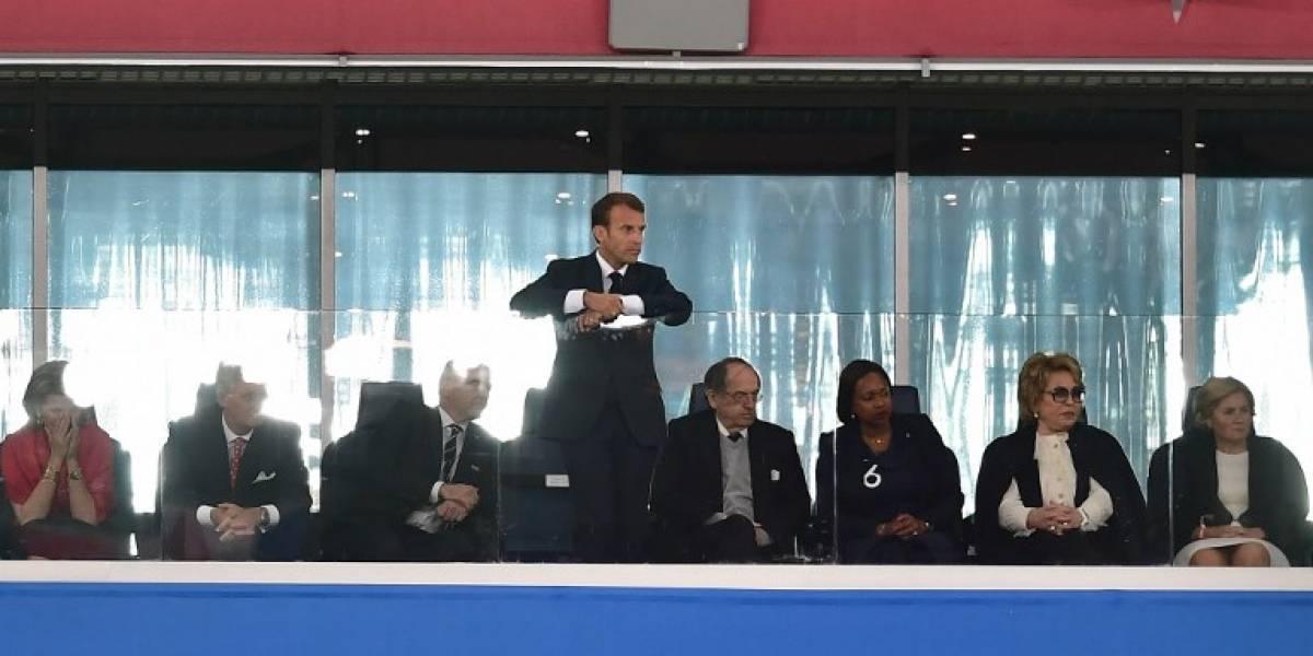 Captan la eufórica celebración del presidente de Francia tras el gol de Umtiti