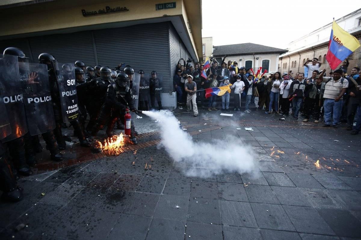Incidentes en marcha en apoyo al expresidente Rafael Correa el jueves 5 de julio del 2018 en Quito EFE/José Jácome