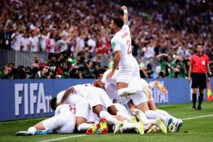Festejo de los croatas al pasar la final del Mundial