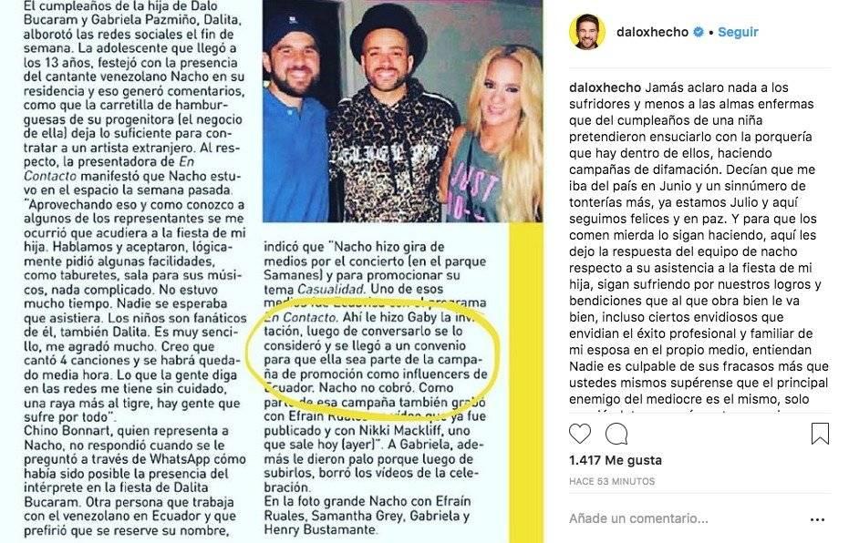 Fiesta de la hija de Dalo Bucaram y Gabriela Pazmiño sigue generando controversia en redes Instagram