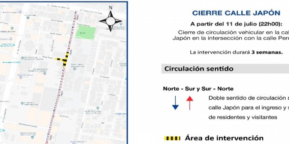 Calle Japón estará cerrada durante tres semanas por trabajos del Metro de Quito