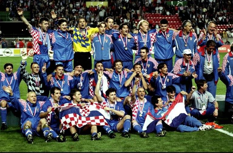 El festejo de Croacia tras obtener el tercer en Francia 1998 / Foto: Getty Images