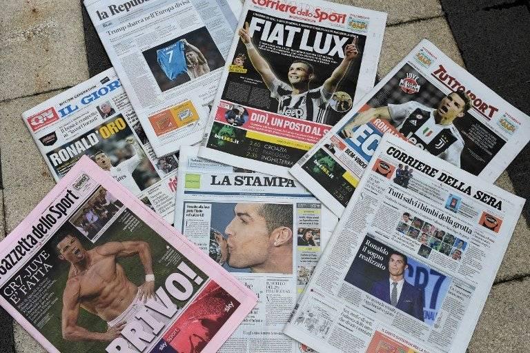 Los principales rotativos de Italia abrieron sus portadas con el fichaje de Cristiano por la Juve