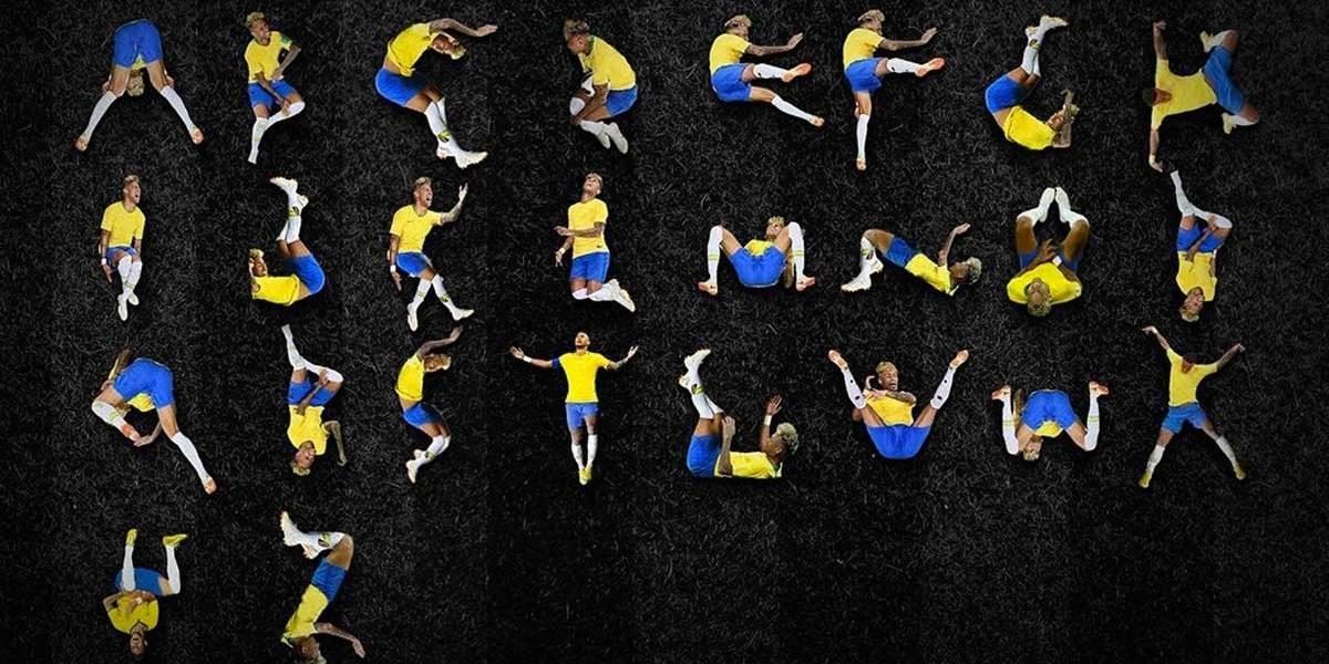 Designer cria alfabeto com as quedas de Neymar