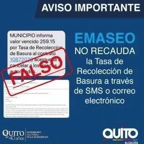 """Quito: Emaseo desmiente correos y SMS sobre """"valores vencidos"""""""