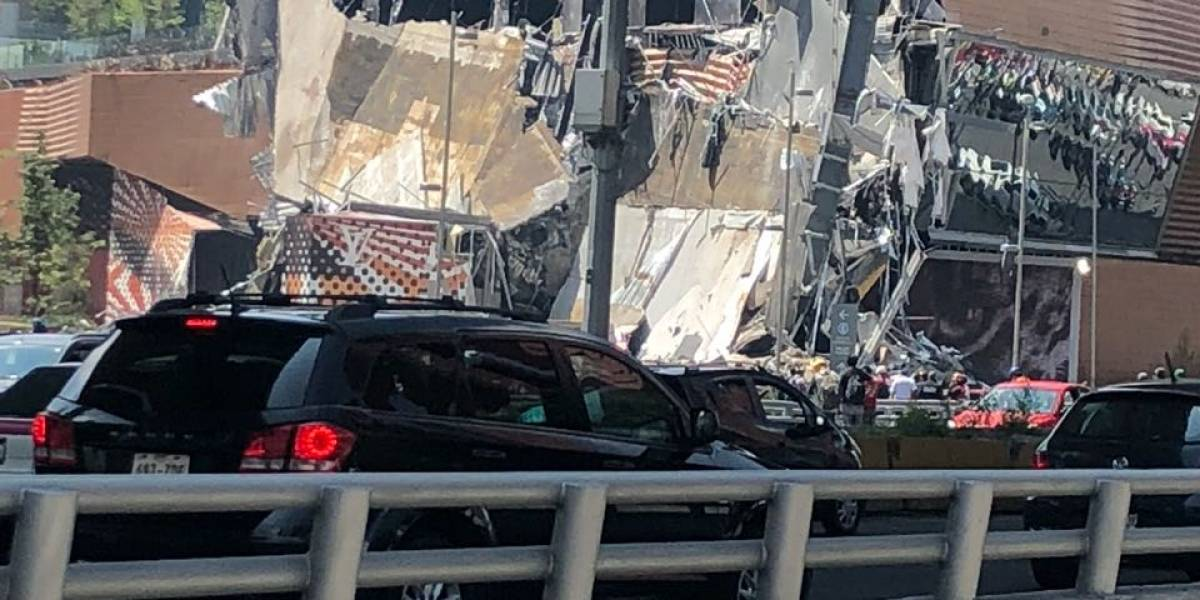 (Video) Se derrumba parte de un centro comercial en Ciudad de México