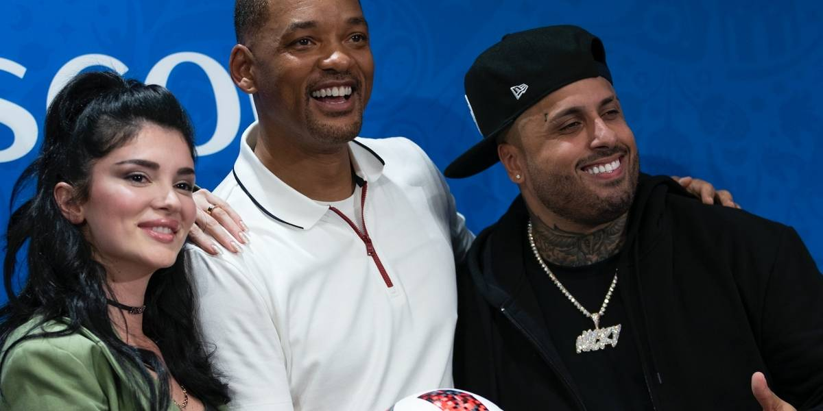 Nicky Jam listo para su presentación junto a Will Smith en la final de Rusia 2018