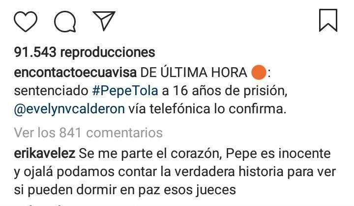 Reacciones Pepe Tola Instagram