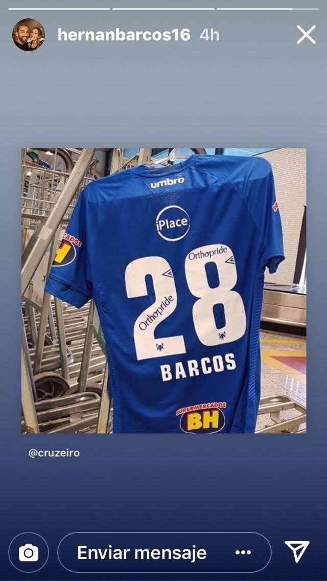 Instagram Hernán Barcos ya luce su camiseta del Cruzeiro
