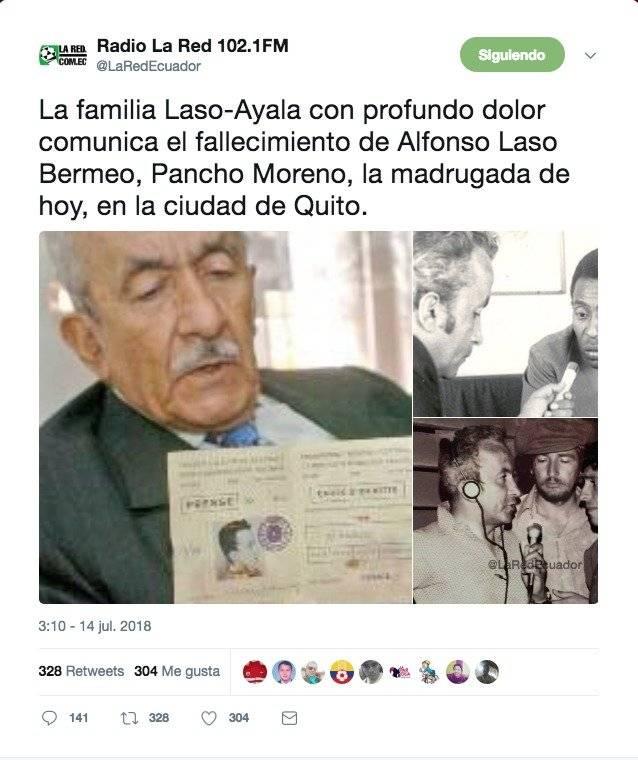 Alfonso Laso Bermeo falleció la madrugada de este 14 de julio de 2018