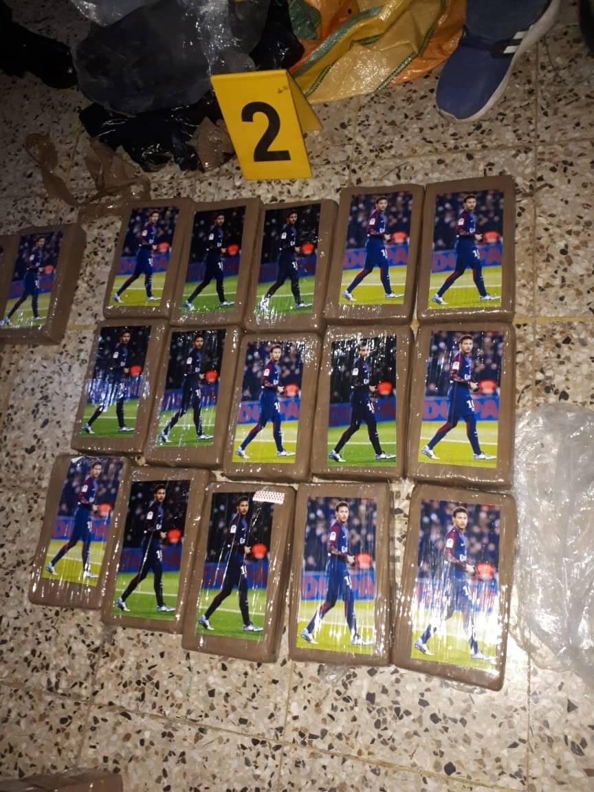 Paquetes incautados con la imagen de Neymar