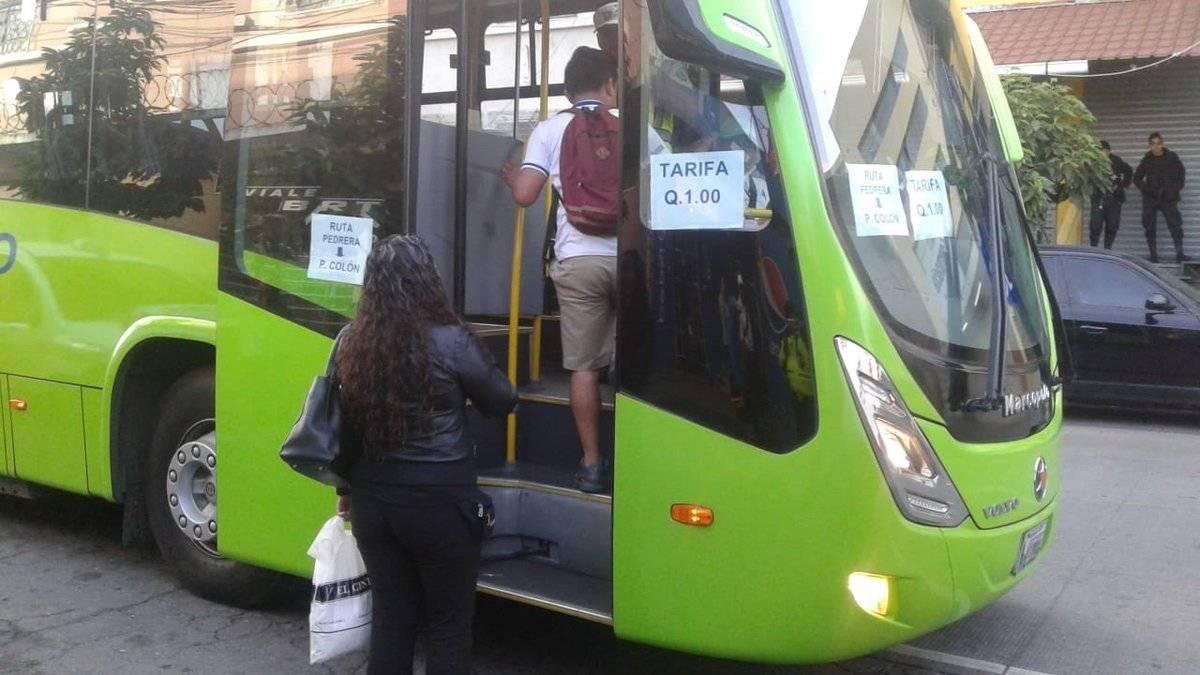 La Municipalidad capitalina habilitó el servicio de Transmetro en sustitución de los buses de la ruta 203. Foto: Municipalidad de Guatemala