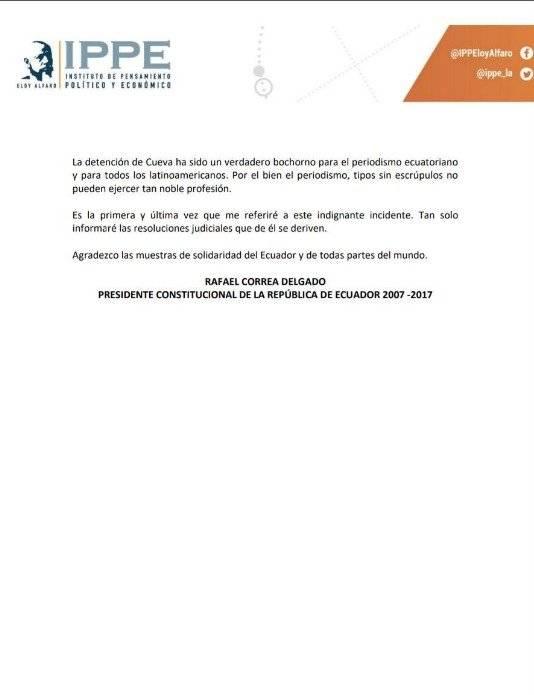Twitter Rafael Correa relata su versión sobre incidente con periodista en Bélgica
