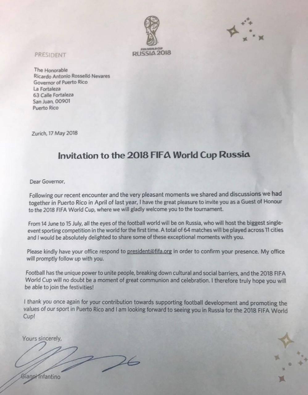 Carta de Fortaleza confirma participación de Ricardo Rosselló en la FIFA.