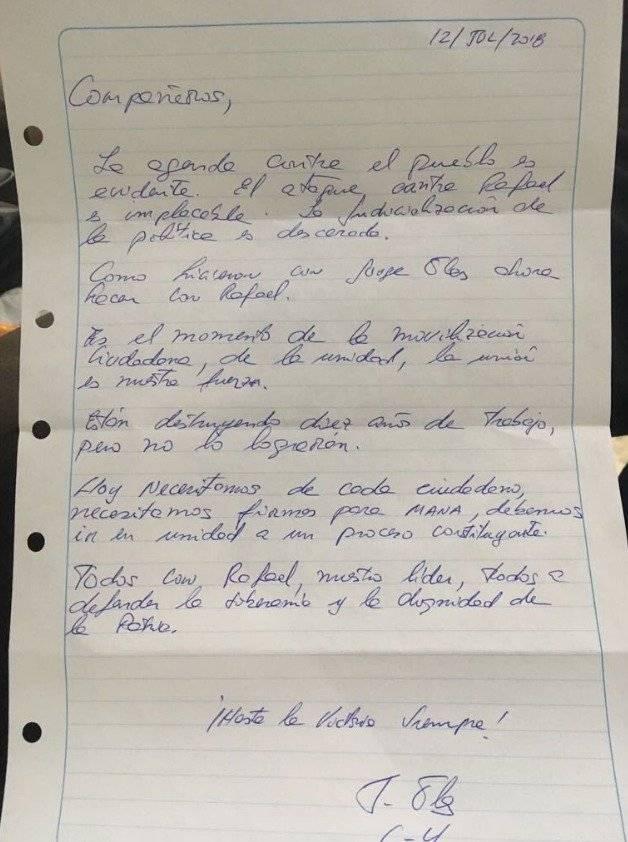 Carta Jorge Glas 12 de julio