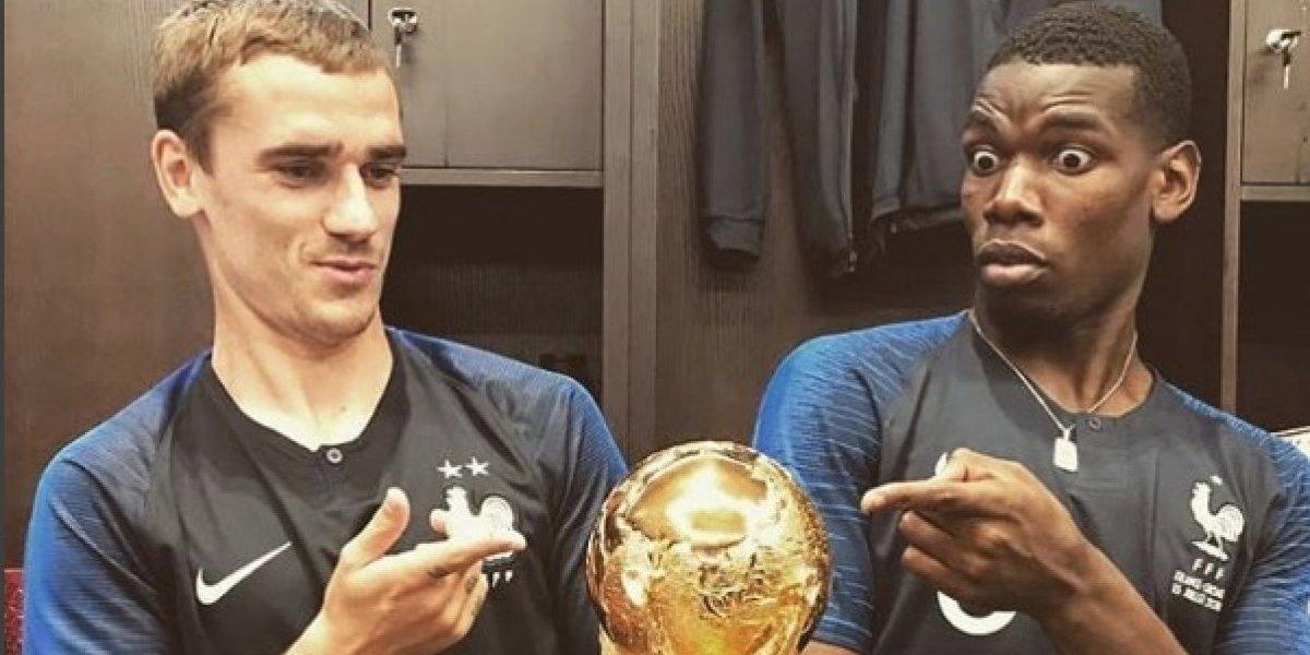 ¡Viva México! Griezmann y Pogba celebran campeonato mundial