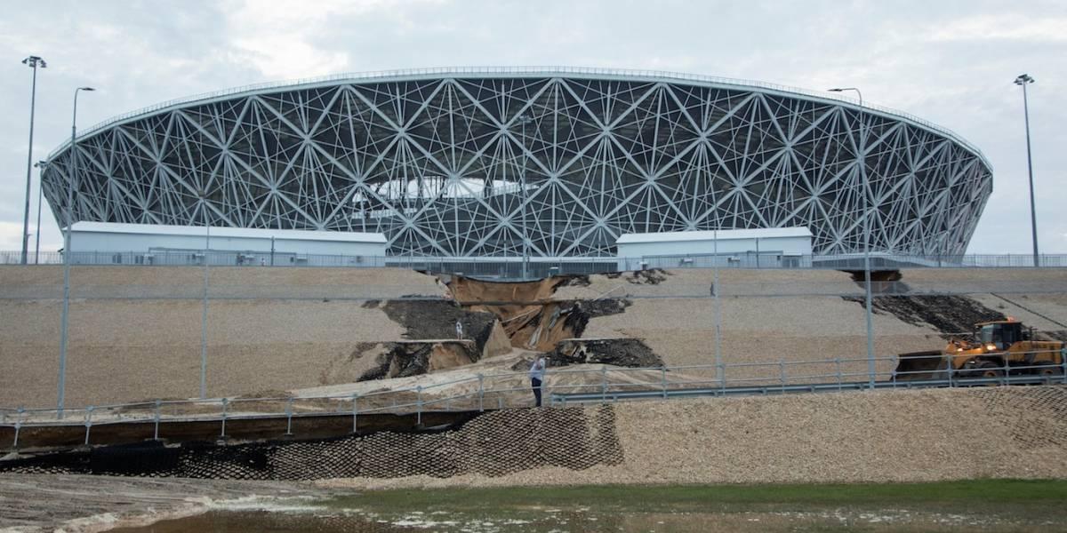 Chuvas fortes do domingo danificam estádio da Copa do Mundo da Rússia