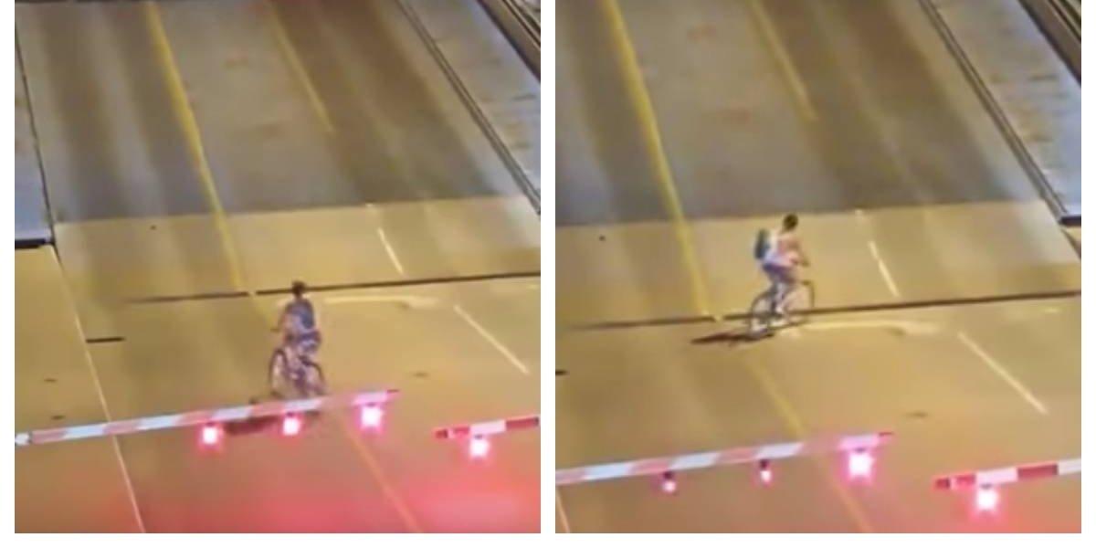 Estuvo cerca de la muerte: Quiso pasarse de lista, se saltó la barrera en un puente levadizo y se dio un golpe que nunca olvidará