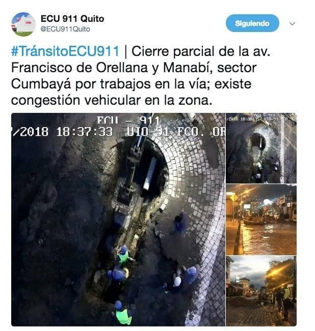 Se reporta congestión vehicular en zona comercial de Cumbayá por trabajos en la vía