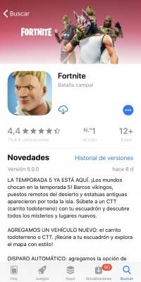 Fornite para iOS.