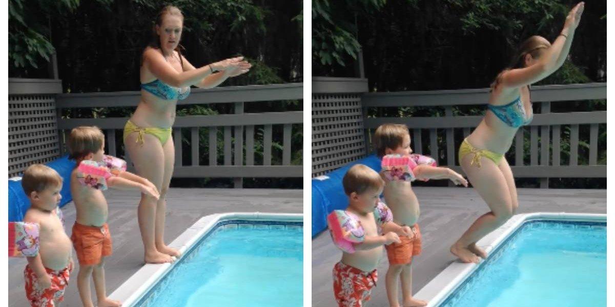 Es lo más tierno que verás hoy: le estaba enseñando a sus hijos a tirarse piqueros y el resultado es simplemente encantador