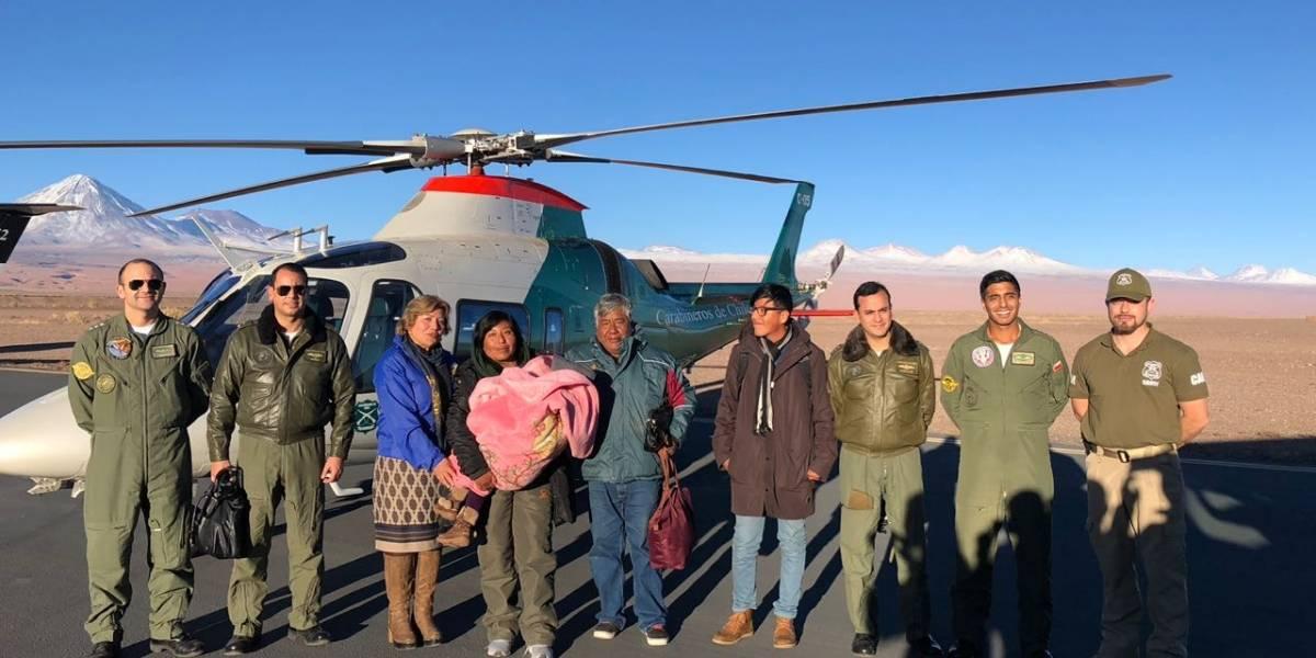 Carabineros de Chile rescató sana y salva a la familia atrapada por la nieve en frontera con Argentina