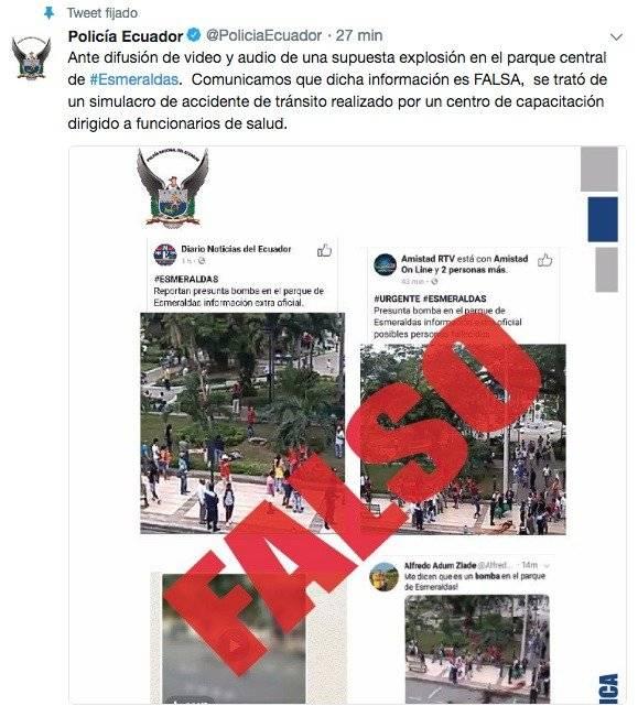 Policía Nacional desmiente supuesto video de explosión en Esmeraldas