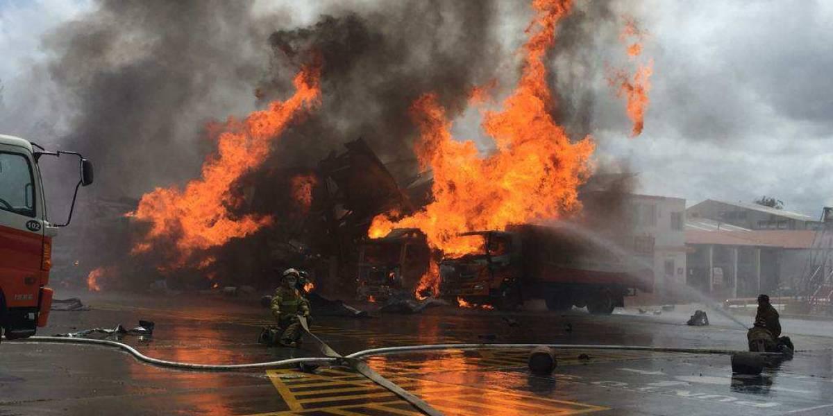 Se incendia planta de gas en la avenida Petapa