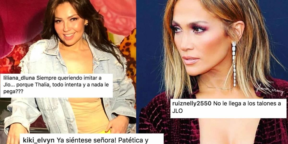 Thalía se transforma imitando el look JLo y sus fans la atacan