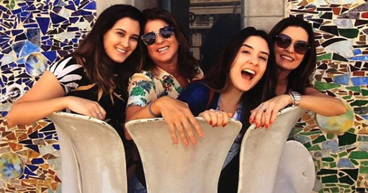 Fátima Bernardes, filhas e Patrícia Marinho