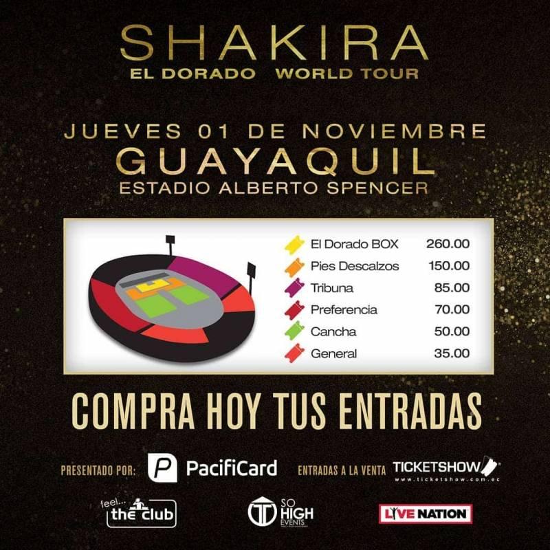 Se crea zona exclusiva para el concierto de Shakira en Guayaquil