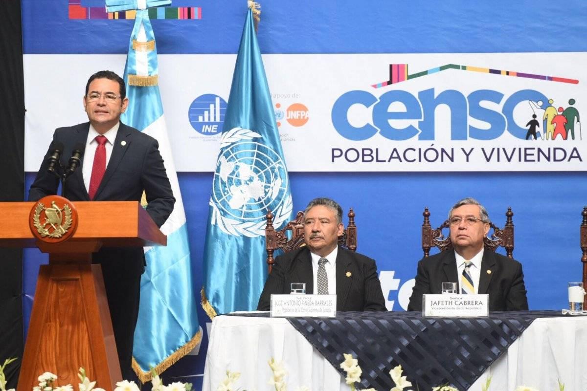 presidente Jimmy Morales en lanzamiento del censo 2018