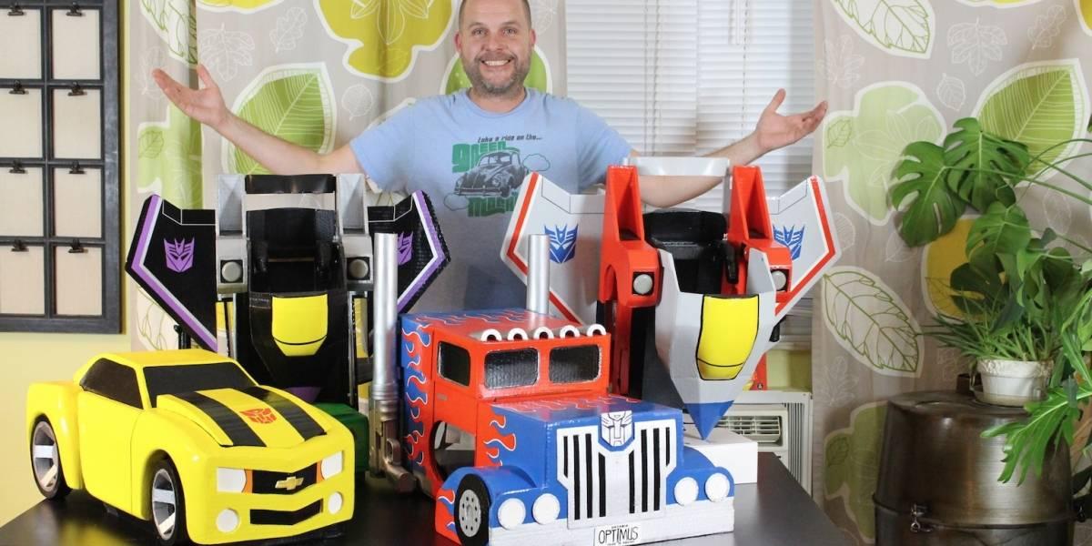 Conoce a este padre que crea auténticos trajes de Transformers