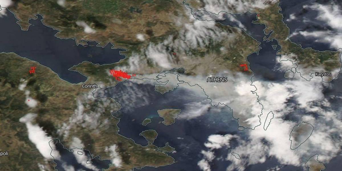 NASA difunde fotos de los incendios en Grecia, vistos desde el Espacio