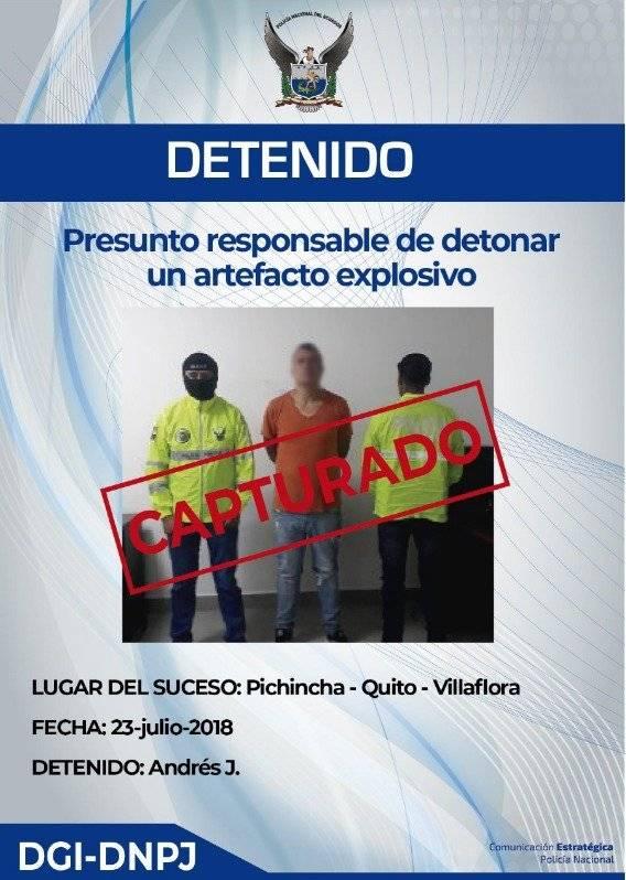 Policía detuvo al presunto responsable de detonar un artefacto explosivo en Quito