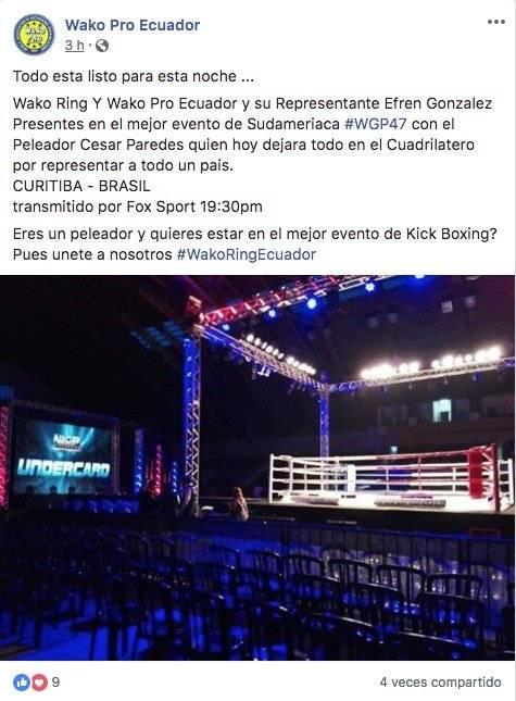 Cesar Paredes Tamayo pelea mañana en Brasil por un título