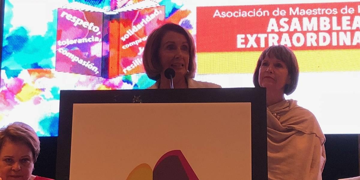 Nancy Pelosi respalda al magisterio puertorriqueño