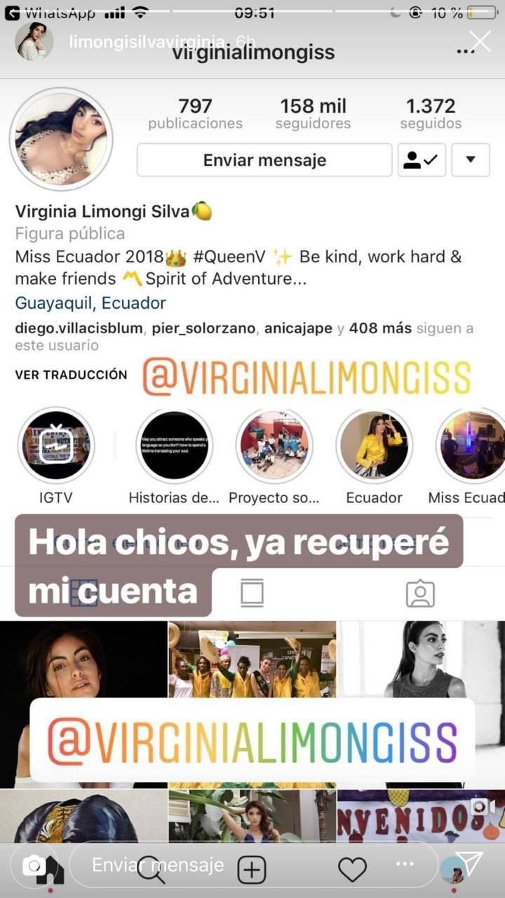 Cuenta de Instagram de Virginia Limongi
