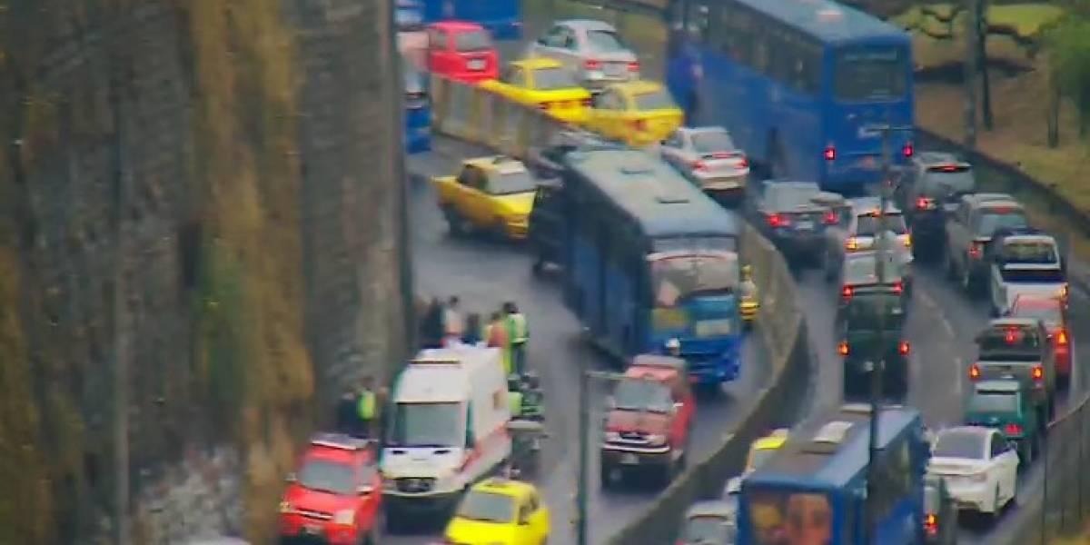 Accidente de tránsito en la avenida Velasco Ibarra y 24 de Mayo, sector Luluncoto.