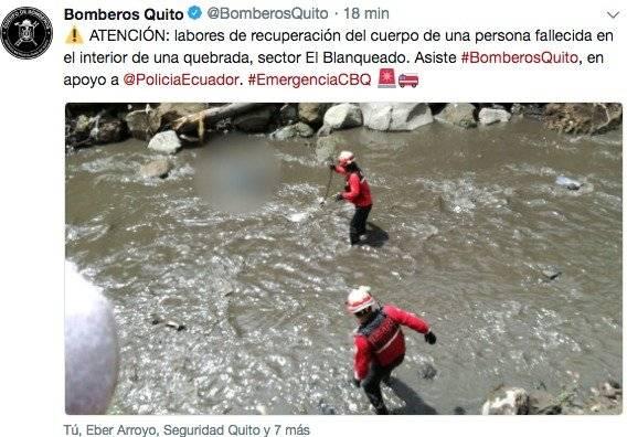 Quito: Bomberos recuperan cadáver en una quebrada del sector El Blanqueado