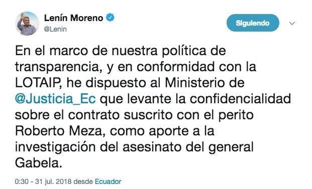Caso Gabela: Lenín Moreno dispone que se levante confidencialidad sobre contrato con perito Roberto Meza