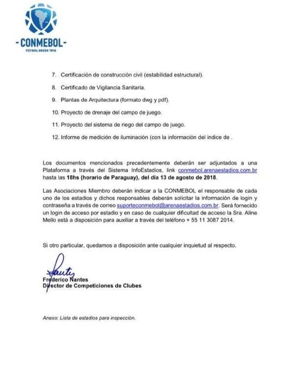 Conmebol inspeccionará los estadios ecuatorianos Captura de pantalla