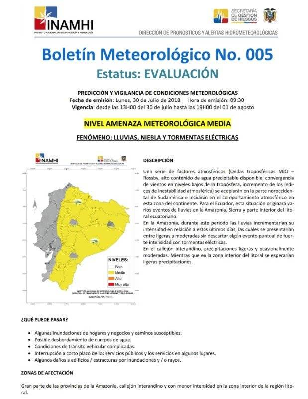 Quito: Inamhi pronostica lluvias para los próximos días
