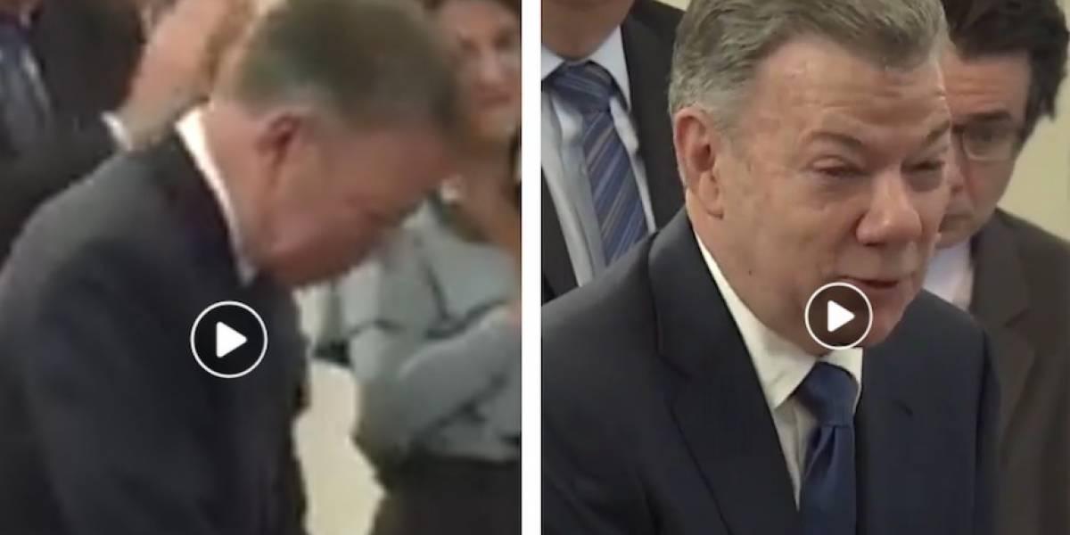 Video: Santos no pudo contener las lagrimas al despedirse de sus ministros