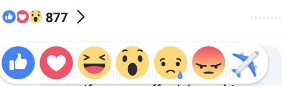 Nueva reacción de Facebook de avión enloquece a los usuarios