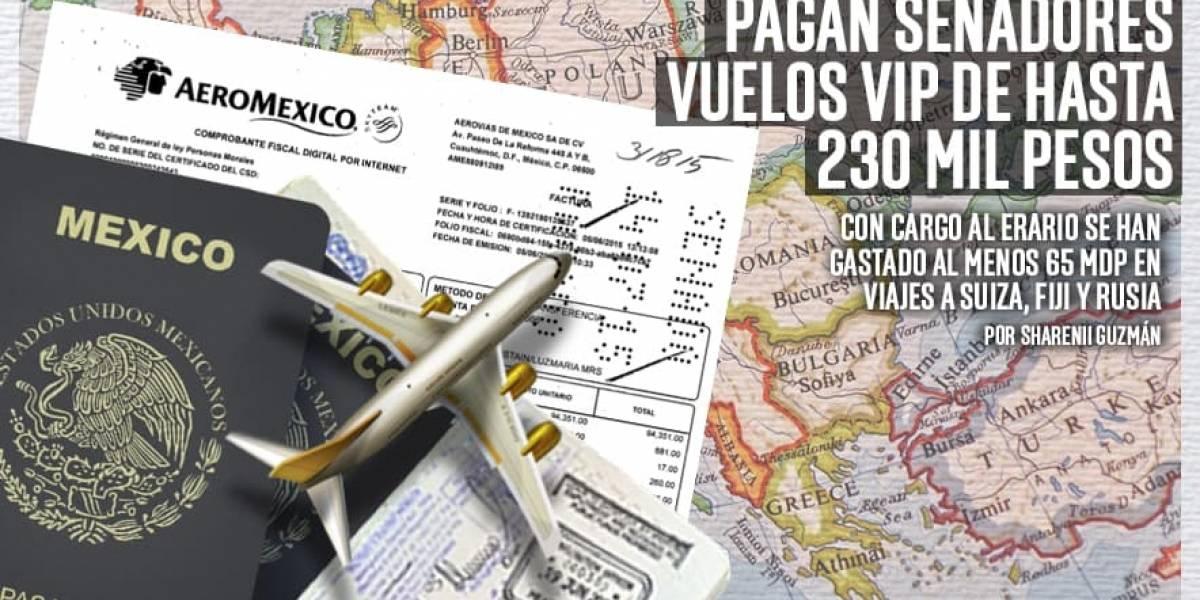 Pagan senadores vuelos VIP de hasta 230 mil pesos
