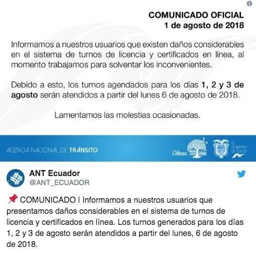 ANT reporta daños en el sistema de turnos de licencia y certificados en línea