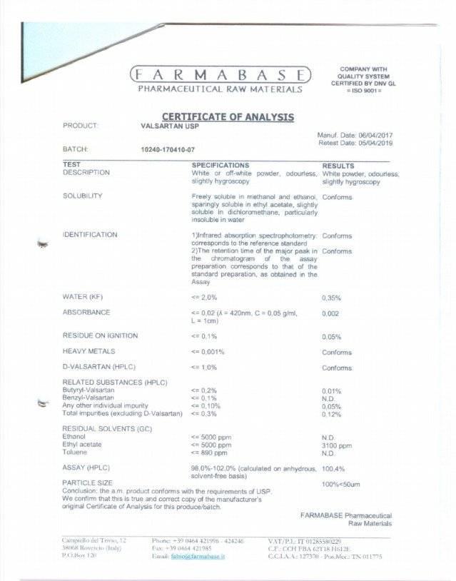 Aclaratorio Noticia Valsartan CORTESÍA