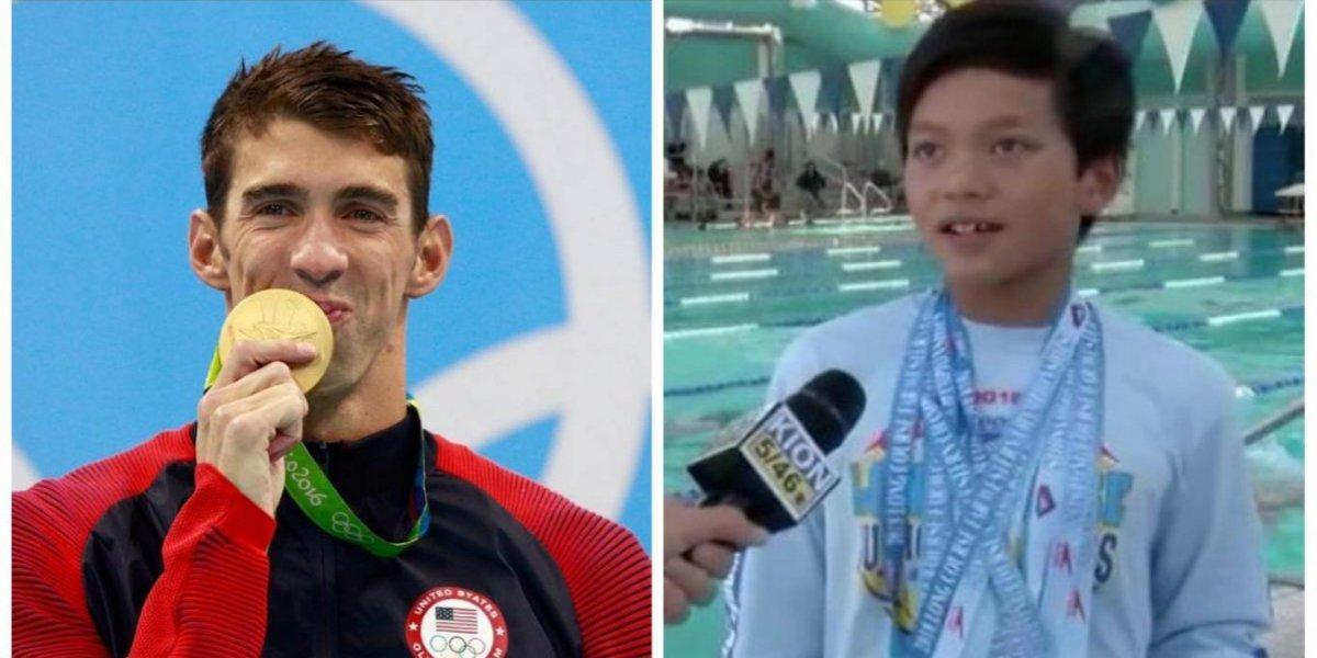 Niño de 10 años con nombre de superhéroe bate récord de Michael Phelps
