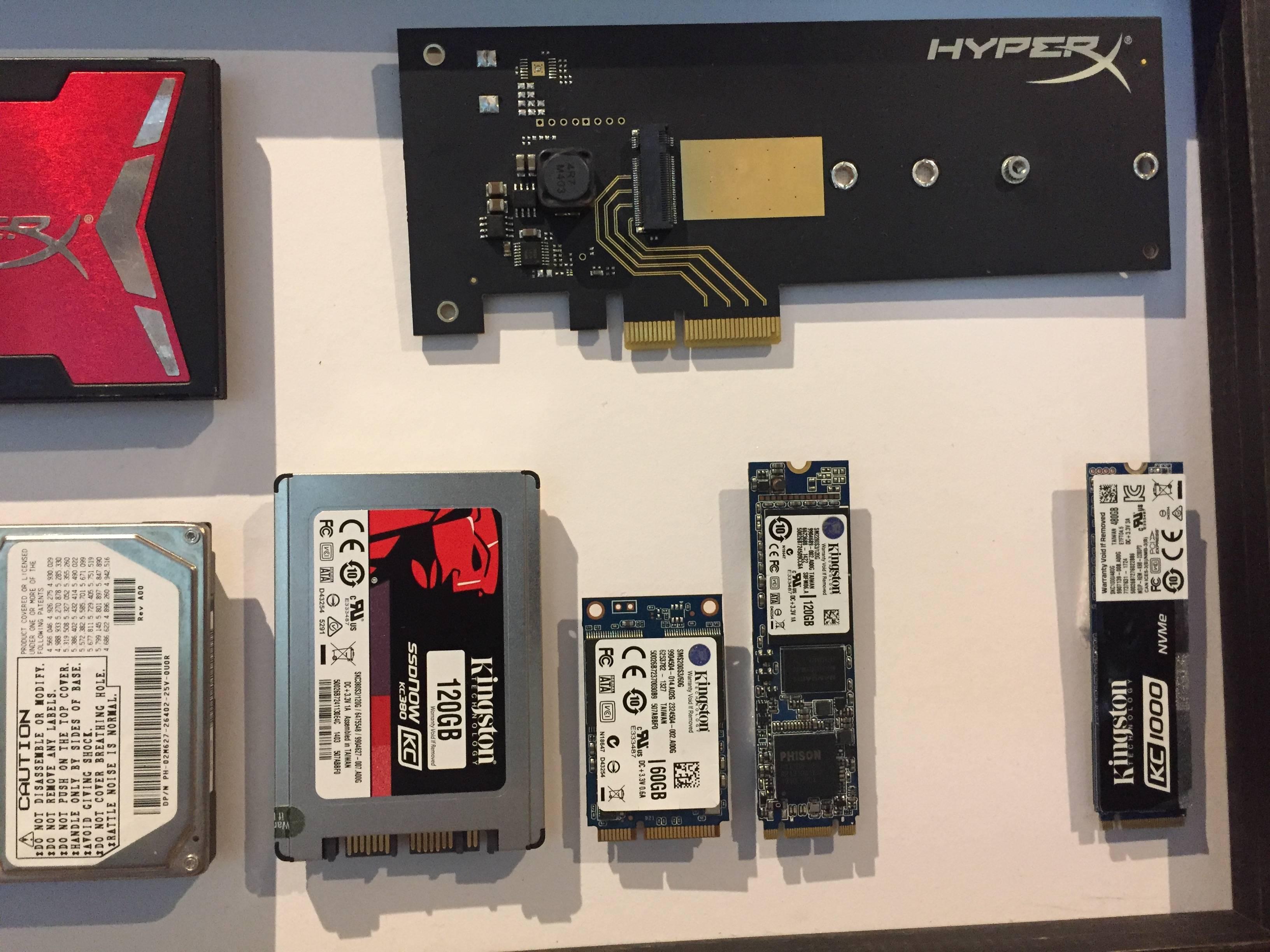 Algunos de los diferentes factores de forma de los SSD